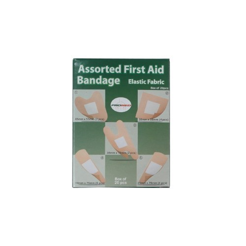 PROMED ASSORTED ELASTIC FABRIC PLASTER 20'S (5 SIZE)