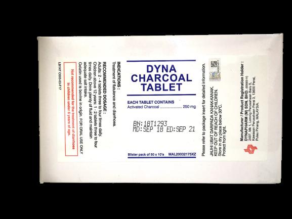 CHARCOAL 250MG 10'S (DYNA)